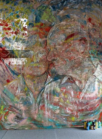Avec Freek, acrylique sur jute, 3.30 x 4 m, 2018