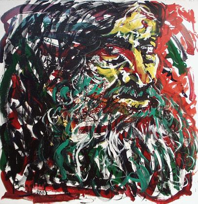 EL MENDIGO, acrylique sur toile, 100 x 100 cm, 2001