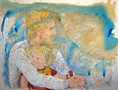 EL PADRE Y SU HIJA, acrylique sur toile, 130 x 98 cm, 2008