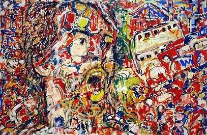 VILLE PANIQUE, acrylique sur toile, 3,50 m x 2,20 m, 2005