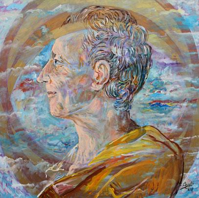 MONTESQUIEU - MÉMOIRE ET LIBERTÉ, acrylique sur toile, 100 x 100 cm, 2018