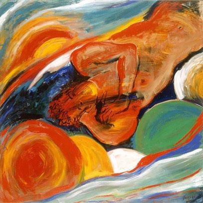 EL SUEÑO, acrylique sur toile, 100 x 100 cm, 1998