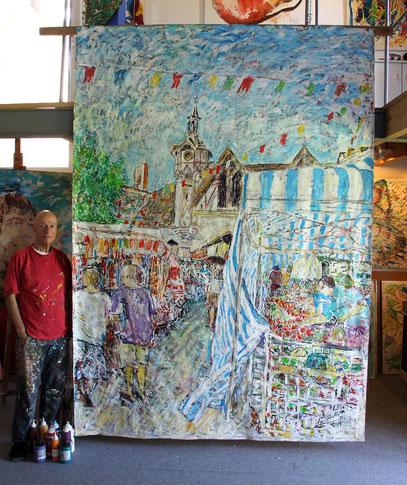 CASTILLONNÈS - Jour du marché, acrylique sur toile, 300 x 220 cm, 2019