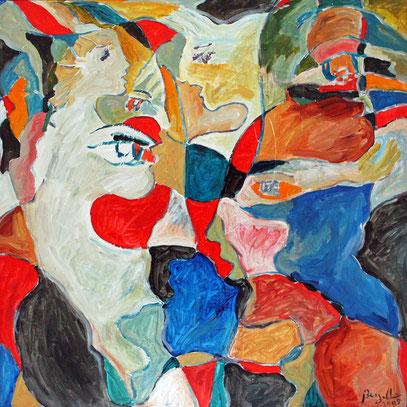 ÉCHANGES, acrylique sur toile, 100 x 100 cm, 2005