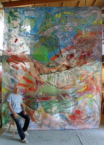 Le Rêve, acrylique sur jute, 3.30 x 4 m, 2017