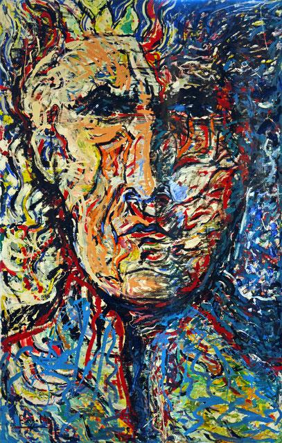 GERARD REVE - ÉCRIVAIN , acrylique sur toile, 3,5 m x 2,2 m, 1998