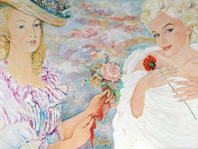 MARIE-ANTOINETTE ET MARILYN MONROE, acrylique sur toile, 200 x 150 cm, 2006