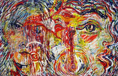 AMOR ET SACRIFICE, acrylique sur toile, 3.30 m x 2.20 m, 1985