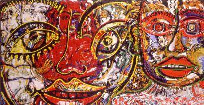 LA FURÍA 1, acrylique et huile sur toile, 200 x 100 cm, 1997