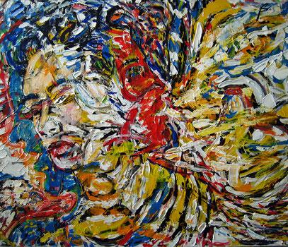 EL CANTANTE, acrylique sur toile, 120 x 100 cm, 2000