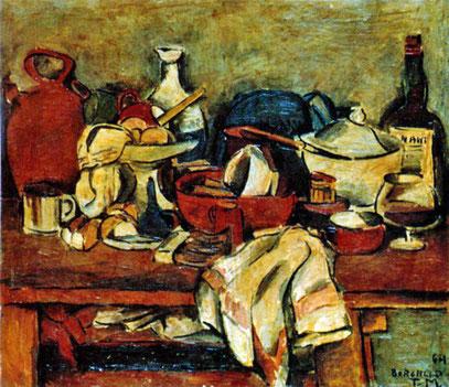 NATURALEZA MUERTA, huile sur toile, 76.5 x 88.5 cm,  1964