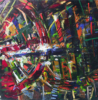 DESTINO, huile sur toile, 100 x 100 cm, 1990