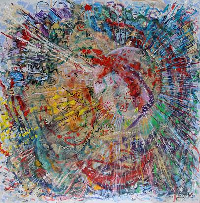 LES AMANTS, acrylique sur toile, 80 x 80 cm, 2012