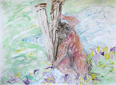 L'ECORCE TERRESTRE, acrylique, encre et crayon sur papier, 77 x 57 cm, 2011