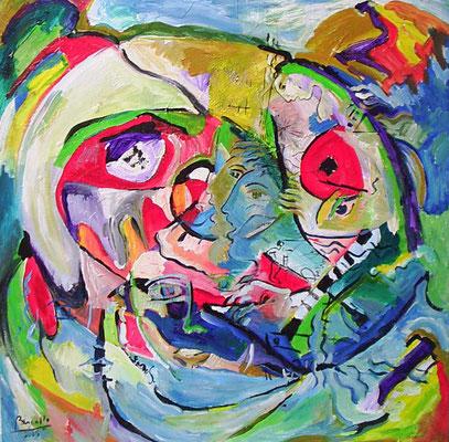 VIAJANTES, acrylique sur toile, 80 x 80 cm, 2005