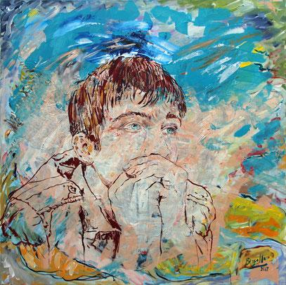 Imaginar, acrylique sur toile, 100 x 100 cm, 2019