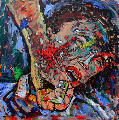 HERA ET LA FOLIE D'HERCULE, acrylique sur toile, 80 x 80 cm, 2010