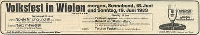 Zeitungsausschnitt 1983