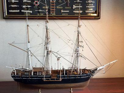 チャールス・モーガン Charles W. Morgan  1841年 1/64  モデルシップウェイ  製作者:栗田正樹 当時の捕鯨大国アメリカの捕鯨帆船で、現在はコネチカット州ミスティックシーポート博物館に保存展示されている。