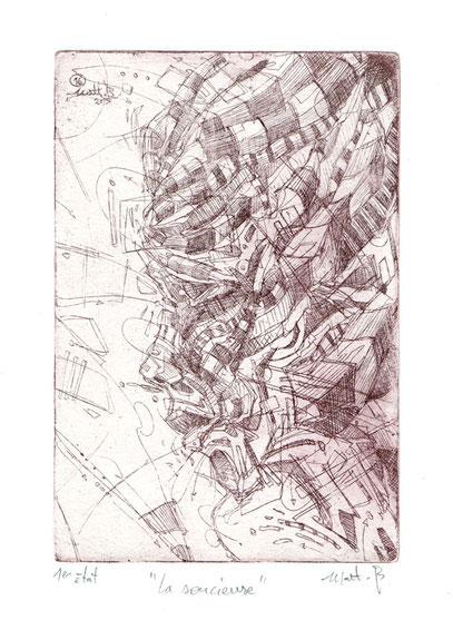 La Soucieuse / Eau forte sur zinc / 10 x 15 cm / exemplaire unique / 1er Etat / 2016
