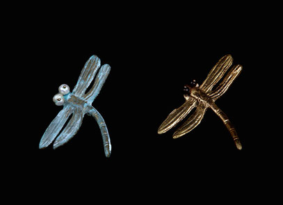 Dragonflies broaches, dipped in bronze or gold, and pearls