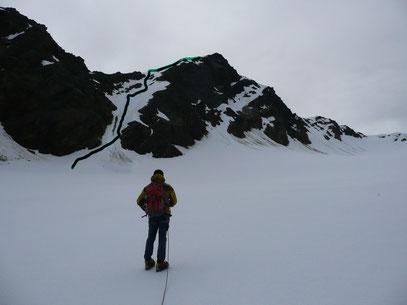 Die Schranspitze mit unserem Aufstiegsweg durch diese Nordflanke