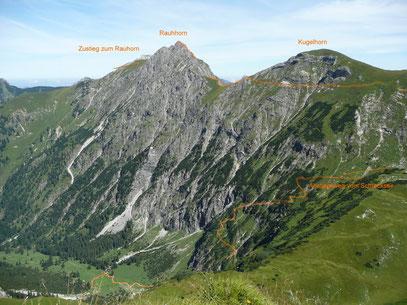 Rauhorn mit Anstiegsweg und einem Abschnitt des Jubiläumsweg,sowie der Abstiegsweg vom Schrecksee