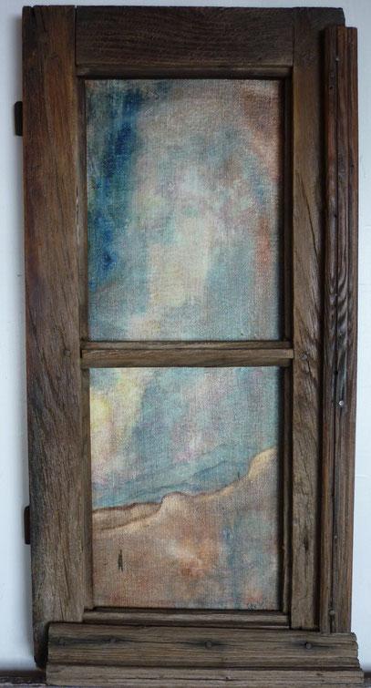 """""""A distance..."""" 68/33.Huile, bitume sur toile contrecollée sur bois."""