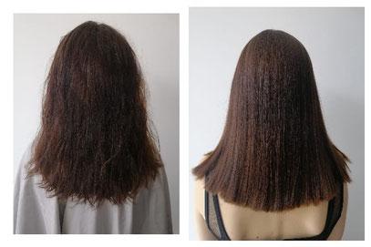 Vor und nach unserem Keratin-Haarglättungstreatment