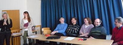 Karin Nickel und Jury (Iris Schubert, Prof. Bardmann, Prof. Schubert, Serena Berghaus, Prof. Borg-Laufs, Ralf Lexen)