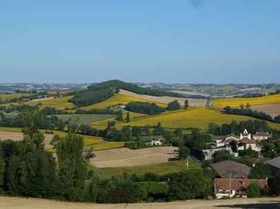 Eté : Vue du village de Montadet. Prise de notre chemin d'accès