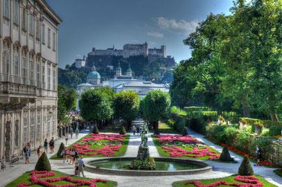 Mirabellgarten mit Blick auf Hohensalzburg