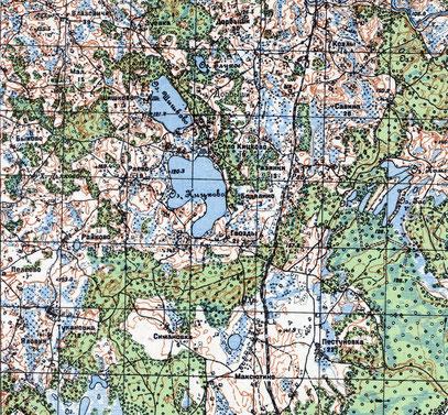 Кицково на карте 1937г.