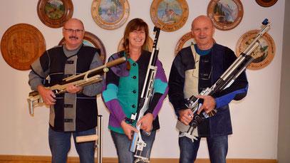 Luftgewehr-Auflage Mannschaft: Josef Grosser, Gerda Böck, Anton Poska