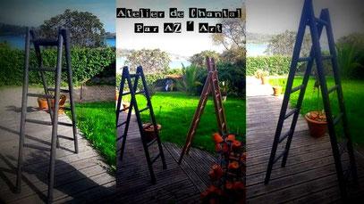 Double échelle bois noir 115 €  ou 103 Bzk