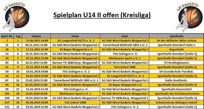 Spielplan U14 II Stand 20.09.2013