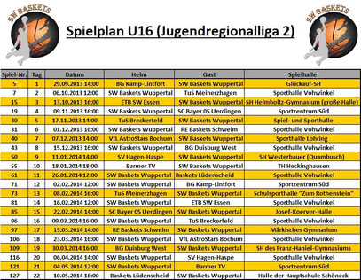 Spielplan U16 I Stand 20.09.2013