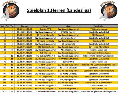 Spielplan 1.Herren Stand 20.09.2013