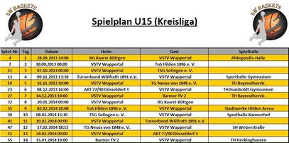 Spielplan U15 Stand 20.09.2013