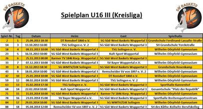 Spielplan U16 III Stand 20.09.2013