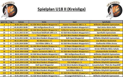 Spielplan U18 II Stand 20.09.2013