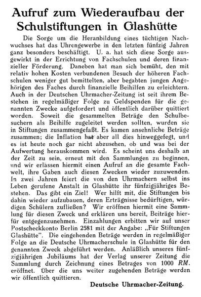 Quelle Deutsche Uhrmacher-Zeitung Nr. 48 vom 27.11.1926 S. 1010