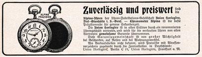 Alpina Werbeanzeige 1911