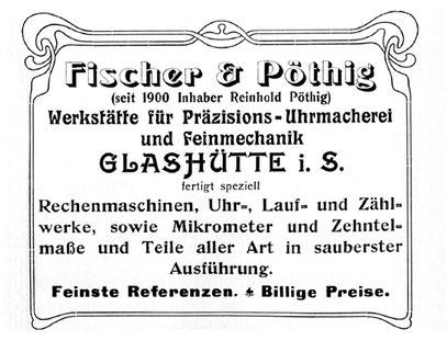 """Quelle: Jahresheft 1905/1906 der Glashütter Uhrmacher-Verbindung """"URANIA"""""""