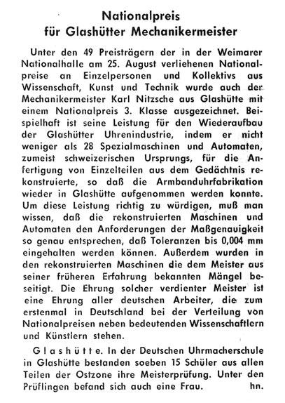 Quelle: Fachzeitschrift Die Uhr Nr.09 vom 24.09.1949 S.23