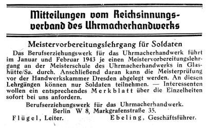 Quelle: Die Uhrmacher-Woche Nr.42/42 vom 10. Okt. 1942 S.224