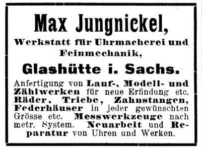 Quelle: Deutsche Uhrmacger-Zeitung Nr. 07 vom 01. April 1902 Anzeigeteil XI