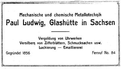 Quelle: Saxonia Nr. 23 vom Dez.1922, Anzeigenteil