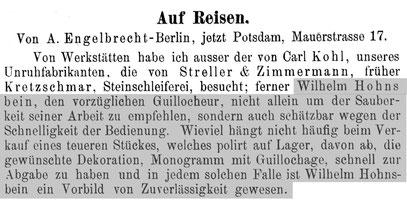 Quelle: Allgemeines Journal der Uhrmacherkunst Nr.22 vom 15. Nov. 1899 S.212