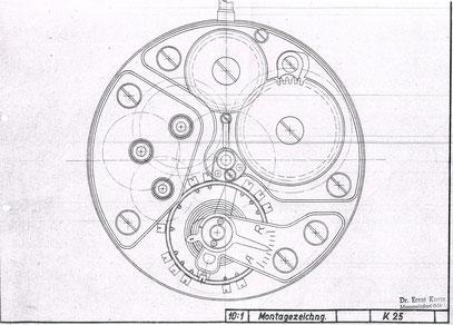 Montagezeichnung des Kalibers 25 von Manfred Szyszka